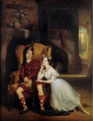 Marie Taglioni et son frère Paul dans la Sylphide. Tableau de François Gabriel Lepaulle